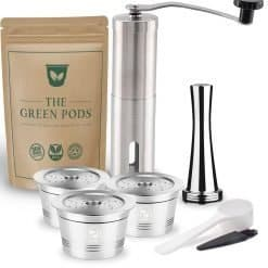 three reusable caffitaly coffee pod with stianless steel coffee tamper and grinder