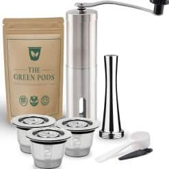 three reusable nespresso coffee pod with stianless steel coffee tamper and grinder